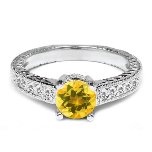 0.35 Ct Round Yellow Citrine White Sapphire 925 Sterling Silver Engagement Ring