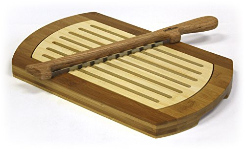 Multi-Purpose Two-Tone Bamboo Crumb Tray / Cutting Board / Serving Tray & Fiddle Bow Bread Knife Set (Mountain Woods /