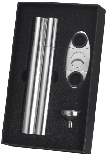 """Visol """"Paramount"""" Cigar Case Flask Combo Gift Set with Cigar Cutter and Funnel"""