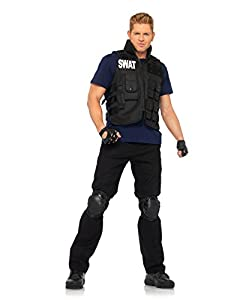 Leg Avenue Men's 4 Piece Swat Commander Utility Vest Shirt With Knee Pads And Fingerless Gloves, Black, One Size