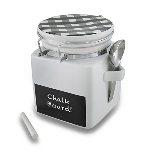 Black And White Gingham Check Lid Ceramic Jar W/Chalkboard Label And Spoon