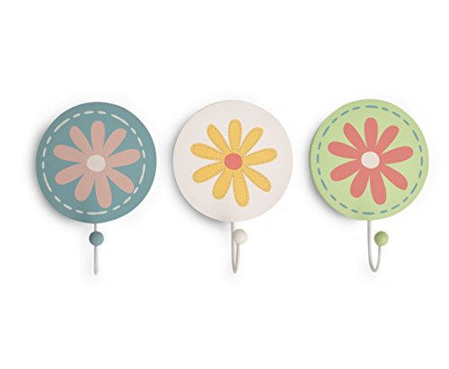 Kidsline Fanciful Floral Wall Hooks, 3 Count - 1