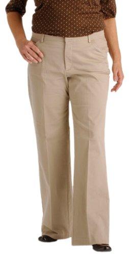 Lee Women's Plus-Size Reese Straight Leg Pant, Light Khaki, 18W Medium