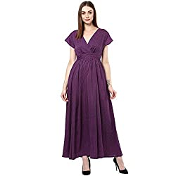 Bhama Couture Purple Crepe Maxi Dress Medium