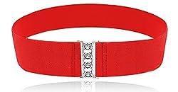 LUNA Fashion 3 Inch Elastic Cinch Belt - Solid Plus - Red