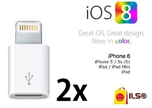 ILS® - 2x Adattatore da Lightning a micro usb per iPhone 6 / iPhone 5 / iPad - Compatibile con iOs 8 e iOs 7- BIANCO