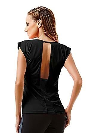 Tops, Sexy Mesh Tops, Yoga Tank, Ref4856 Blusa Star Black: Clothing