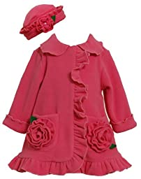 Bonnie Baby Baby Girls\' Ruffle Fleece Coat and Hat Set, Fuchsia, 24 Months