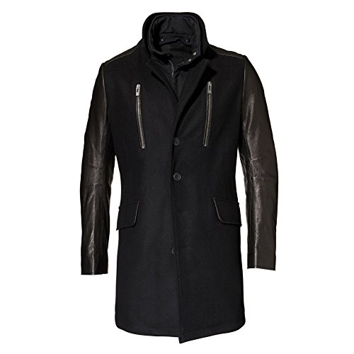 ROGUE Men's Wool with Glazed Lamb Leather Sleeves Coat, Black, Large