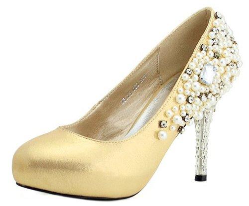 Honeystore Women'S Pearls Rhinestones On Side Sheepskin Pump Gold 9 B(M) Us front-638075