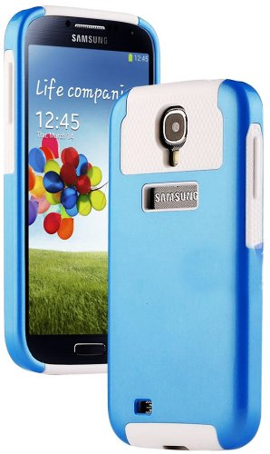 """Mylife (Tm) Sky Blue And White - Classy Design (2 Piece Hybrid Bumper) Hard And Soft Case For The Samsung Galaxy S4 """"Fits Models: I9500, I9505, Sph-L720, Galaxy S Iv, Sgh-I337, Sch-I545, Sgh-M919, Sch-R970 And Galaxy S4 Lte-A Touch Phone"""" (Fitted Back Sol"""