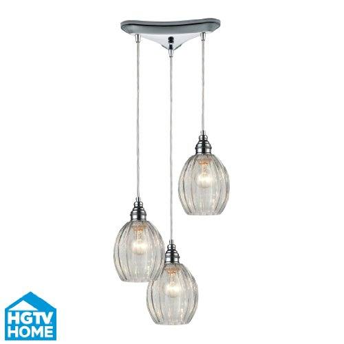 Elk Lighting 46017/3 HGTV Danica 3-Light Pendant with Mercury Glass Shade, 10 by 9-Inch, Polished Chrome Finish
