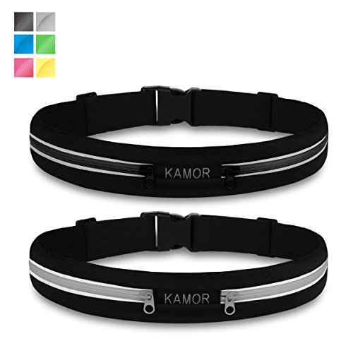 (2 Pack) Kamor Running Belts / Exercise Runner Belt / Waist Packs for Apple iPhone 6, 6 plus, 5, 5s, 5c, Samsung Galaxy - for Men, Women during Work
