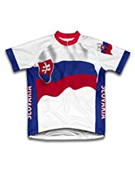 Slovakia Flag Short Sleeve Cycling Jersey for Women