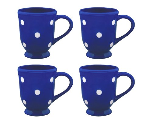 Terramoto Ceramic Polka Dots Footed Mugs, White On Royal Blue, Set Of 4