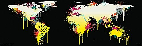 Weltkarte als Poster | Weltkarte im Graffiti-Stil
