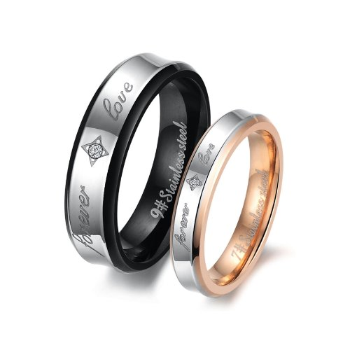 Fashion Black Plated His & Hers Gold-plated Titanium Stainless Steel Couples