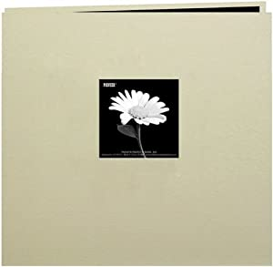 Pioneer 12-Inch by 12-Inch Book Cloth Cover Postbound Album with Window, Biscotti Beige