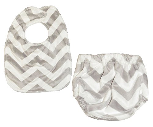 Caught Ya Lookin' Bib and Bloomer Set, Grey and White Chevron