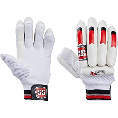 SS College Men's RH Batting Gloves (White)