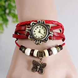 Gadgetbucket Vintage Retro Beaded Red color Bracelet Leather women wrist watch Band