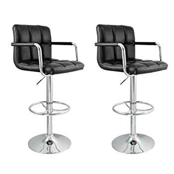 Apontus Pu Leather Swivel Hydraulic Bar Stool W Arms Set