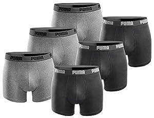 PUMA Herren Boxershort Basic Limited Black Edition 6er Pack - Black and Grey - Gr. L