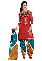 7 Colors Lifestyle Women's Embroidered Unstitched Dress Material (Red_Free Size)