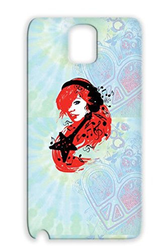 Tear-Resistant Rock Guitar Miscellaneous Model Music Star Music Notes Girl Sexy Headphones Woman Red Cover Case For Sumsang Galaxy Note 3