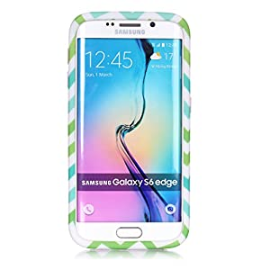 S6 Edge Case, Sophia Shop 3 in 1 Colorful Wave Patterned Hybrid High Impact Hard PC Case And Soft Silicone Triple Layer Protective Shockproof Anti-Scratch Cover For Samsung Galaxy S6 Edge (Baby Pink) by Welcome to Sophia shop,100% new product and high qua