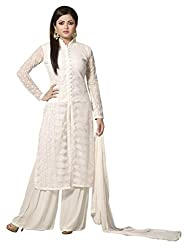 1 Stop Fashion Express your style with this eye catching attire. White Color Georgette Dress fabric looks Completely Amazing. White color santoon bottom and White Chiffon dupatta is arranged with this apperal. Thread Embroidery work is beautifully designed on this Dress material. Accessories shown in the image are for photography purpose. (Slight color variation is possible)