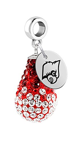 University of Louisville Cardinals Crystal Dangle Charm - Fits All Bracelets