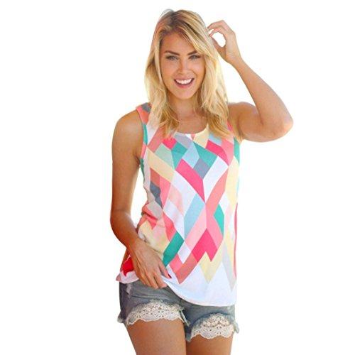 Bolayu Women Summer Loose Geometry Printing Tank Tops Sleeveless Vest Blouse T-Shirt (XL)