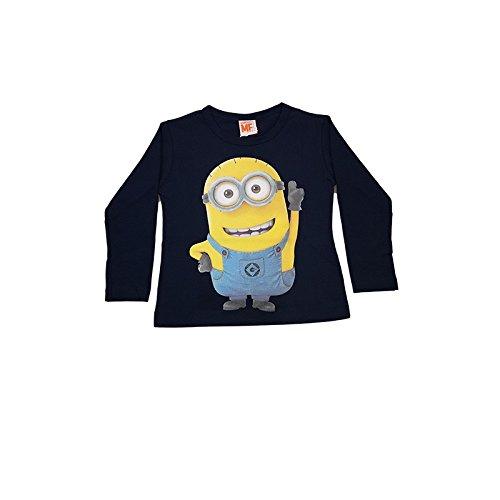 T shirt maglia maglietta cotone bielastico bimba bambina minions blu - 4A