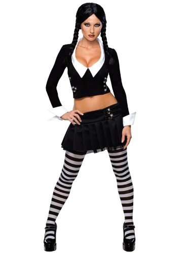 Sexy Wednesay Addams Costume Gothic Theatre Mini Skirt Crop Top Addams Family