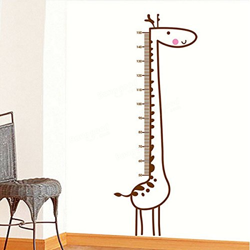 Ideana Giraffe Wall Stickers Kids Children Room Baby Growth Chart Height Decal Measure Removable Home Decoration