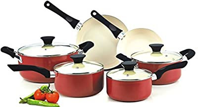 Cookware Food Network Premium Set Nonstick Ceramic Coating 10 Piece, Red, Glass Lid