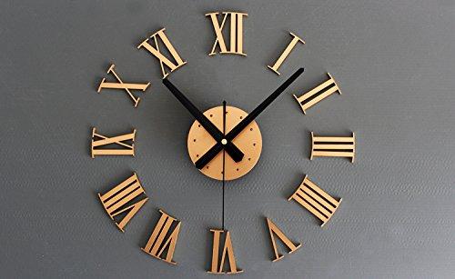 iCasso 3D Creative Home Modern Art Metallic Roman Numerals Decoration DIY Wall Clock Home Decor