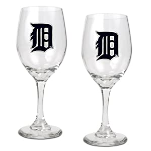 MLB Detroit Tigers 14-Ounce Wine Glass (Set of Two) by Great American Products