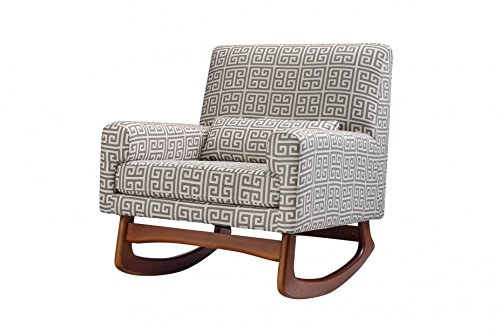 Nursery Works Sleepytime Rocker - Athena Cotton In Grey/Natural- Walnut Legs