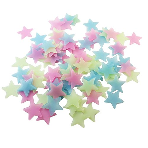 BestOfferBuy 100 PCS 3cm Color Stars Glow In The Dark Luminous Fluorescent PVC Wall Stickers