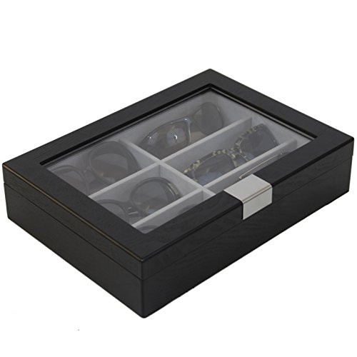 Tssg500Essbk Sunglasses Case Storage 6 Glasses Black Wood Grain Finish Glass Window