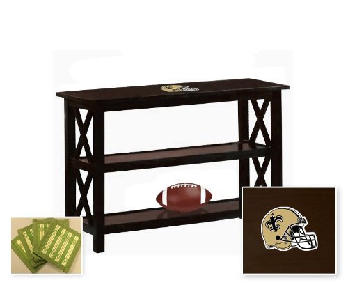 New Cappuccino / Espresso Finish Sofa Table with Shelves featuring New Orleans Saints NFL Team logo and also includes a set of free coasters! at Amazon.com
