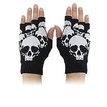 Skull Print Stretchy Half Finger Unisex Gloves Black S