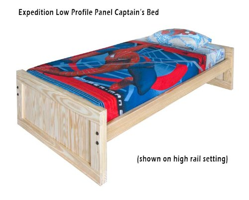 Kids Captains Bed- Twin Size - Low Headboard And Footboard With Trundle Option Solid Wood