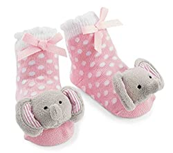 Mud Pie Baby-Girls Newborn Elephant Rattle Socks, Pink, 0-12 Months