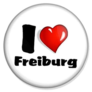 Button I love Freiburg - Freiburg Badge, Freiburg Pin, Freiburg Anstecker, Freiburg Button, Freiburg Ansteckpin