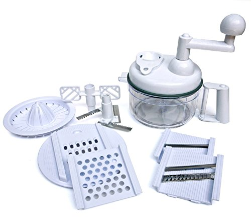 Manual Food Processor - Chop, Blend, Whip, Mix, Slice, Shred, Julienne, and Juice - by Kitchen Plus