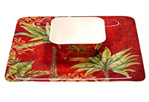 Certified International Sunset Palm Melamine 2-Piece Square Chip and Dip Serving Set,... by Certified International