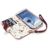 Samsung i9300 Galaxy S3 Premium PU Leather Wallet Case with Floral Interior (Red)